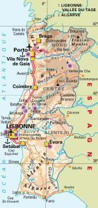 Carte routière Portugal