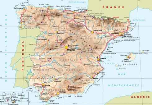 carte routière Espagne